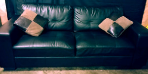 Black leather couch set. Free delivery