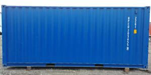 Conteneur maritime 20' 1-voyage bleu pour entreposage.