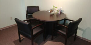 Round small conference table + 3 chairs