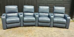 Leather Home Theatre Recliners – matched set of four