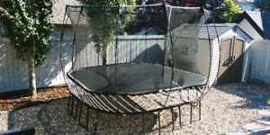 SpringFree Large Square Trampoline with Winter Cover and Rollers
