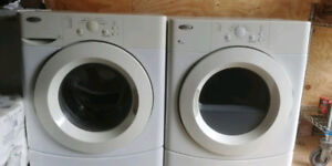 """whirlpool 27"""" front load glass washer electric dryer stackable"""