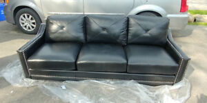 NEW BLACK TOP GRAIN LEATHER COUCH, LOVE SEAT & CHAIR! SAVE $1000
