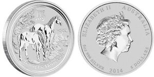 piece en argent Cheval/silver bullion Horse 2014 5 oz/ounce/once