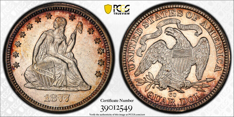 1877 CC 25C Seated Liberty Quarter PCGS AU 53 About Uncirculated Carson City ...