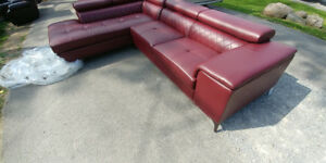BRAND NEW FAUX RED LEATHER COUCH WITH HEAD RECLINERS