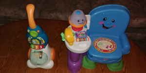 Vteck pop & count vacuum and fisher price toddler learning chair