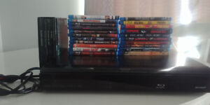 Aquos Sharp Blu-ray player with 21 blu-ray dvds.