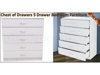 **100% GUARANTEED PRICE!**BRAND NEW-Alaska Chest Of Drawers Solid Mdf Wood-5 Drawers-Compact Storage