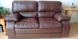 Leather love seat, hardly used