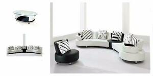 4 PC BLACK AND WHITE BONDED LEATHER SECTIONAL $1498