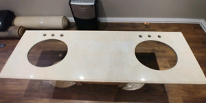 Bathroom marble countertop with double sinks included