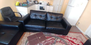 3 Black leather couch love seat and sofa
