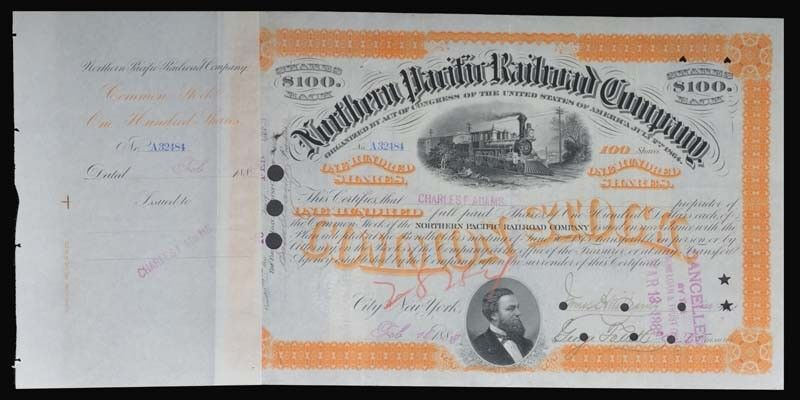 Northern Pacific Stock Issued To And Signed On Verso By Charles F. Adams