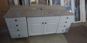 "72"" long white vanity with top & faucet all included"
