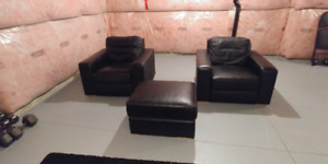 Black Leather Armchairs and Ottoman