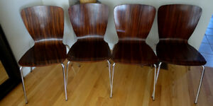 4 Modern Cherry Wood Chair with Stainless Steel Legs