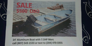 14 ft aluminum boat and motor for sale
