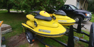 2 97 seadoo xp's with double trailer