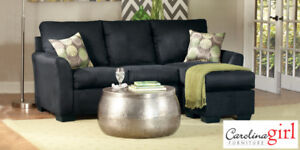 Black Microfibre Sectional