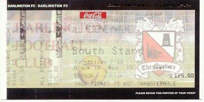 Ticket - Darlington Reserve Matches