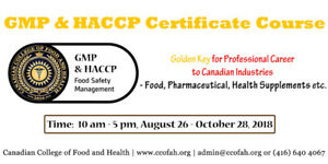 HACCP & GMP CERTIFICATION COURSE - Get 2 Certificates in 10 Days