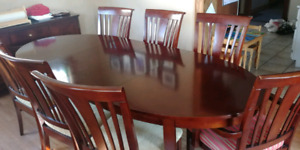 Wood Dining Room Set with 8 chairs and buffet