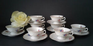 8 Wawel China Floral Footed Demitasse Cup & Saucer Gold Trim