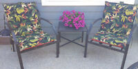 Patio Chair Set - Chaise, Two Chairs, Side Table & Cushions