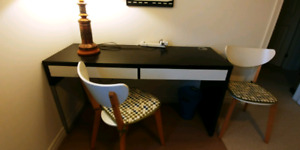 Ikea Micke desk with two drawers, and 2 chairs w cushions