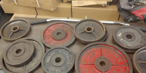 Vintage Metal Weight Plates + Lat Pull Down Handle