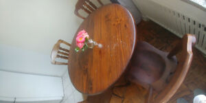 Solid Oak Wood Dining Table & 4 Chairs