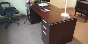 Computer Desk with Two Full Pedestals for sale
