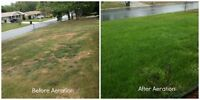 Lawn Care, Core Aeration with Over- Seeding & Weed Control