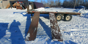 Used 5th wheel Tandem Torsion 16' by 8' deck trailer w/t ramps