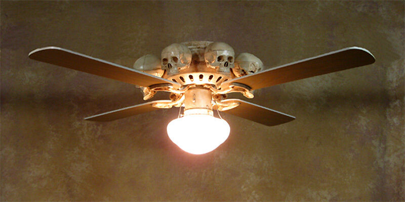 Skeleton Ceiling Fan w/ Skulls, Halloween Prop, Human Skeletons