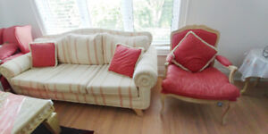 Pink and White Couch Set