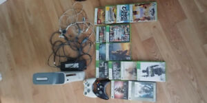 xbox 360 with 15 games, 2 controllers