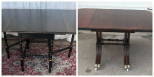 2 Antique dining tables (Gate Legs & Duncan Fyfe), refinished