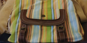 ROOTS - Striped Fabric Bag