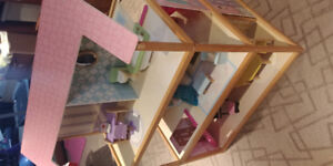 2 sided large Barbie house with wooden furniture