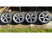 """19"""" Alloy deep dish 5 spoke 5 stud wheels and tyres"""