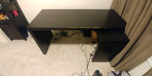 Ikea Malm Desk with Pull Out Panel - Black/Brown
