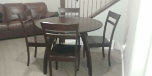 Round Dining Table + 4 Chairs