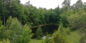 +1 000 000p2 terrain industriel / fermette +rivière lac possible