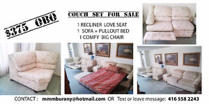 Couch Set White Floral 3 pc 375 OBO  MUST GO!!!