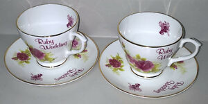 English Bone China, Ruby Wedding Cup and Saucer Set,Fenton China