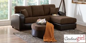 Brand NEW Flat Suede Chocolate Sectional! Call 506-634-1010!