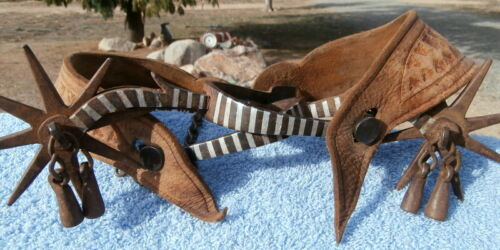 Old Antique Sonoran 3-3/4 in. Rowels Silver Stripe Mexican Horse Spurs w/Straps