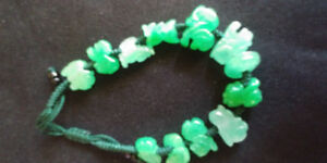 NATURAL APPLE GREEN JADE BRACELET WITH ZODIAC
